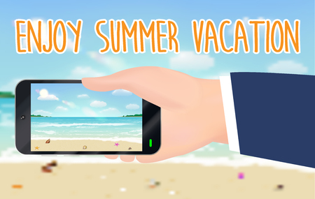 enjoy summer vacation and smartphone capture beach Иллюстрация