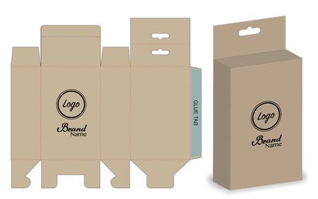 emballage de la boîte modèle de conception de coupe . maquette 3d