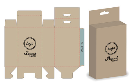 Box packaging die cut template design. 3d mock-up Vettoriali