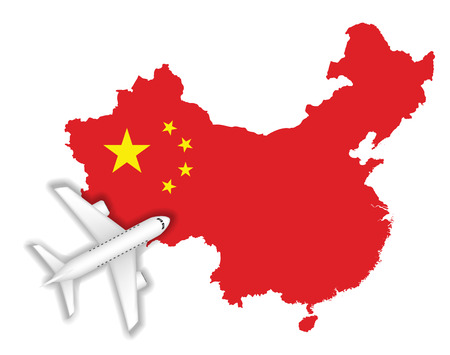 Airplane flying with China map and flag design.