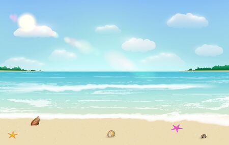 sea sand beach summer tropical background vector