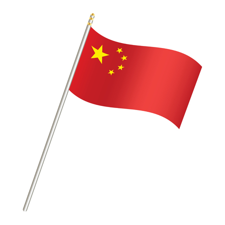china flag and stick on a white background