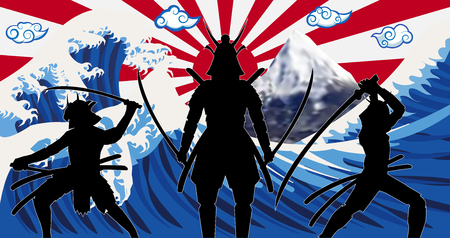 Silhouette japan samurai with wave rising sun flag Illustration