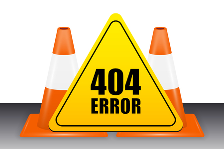 404 error sign with traffic cone vector Illustration