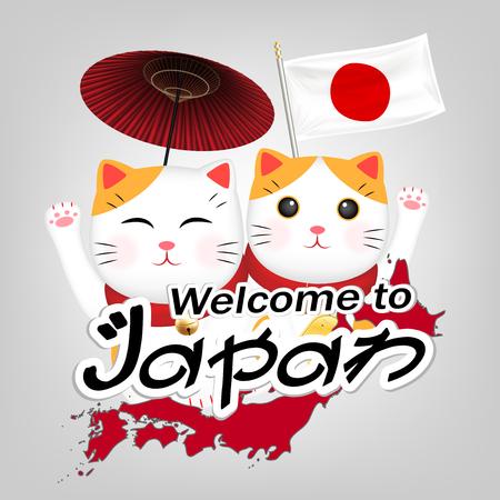 Two Maneki Neko welcome to japan vector Illustration