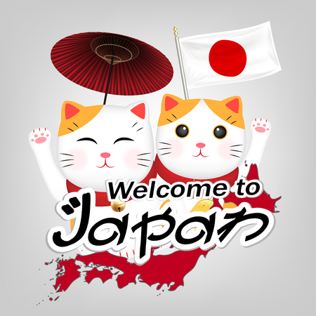 Two Maneki Neko welcome to japan vector Illustration