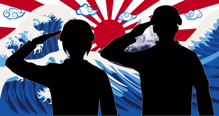 Silhouette japan soldier with wave rising sun flag Illustration