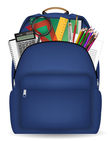 Student school bag with study tool in side