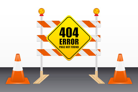 404 error page not found on road block tools Vector illustration.