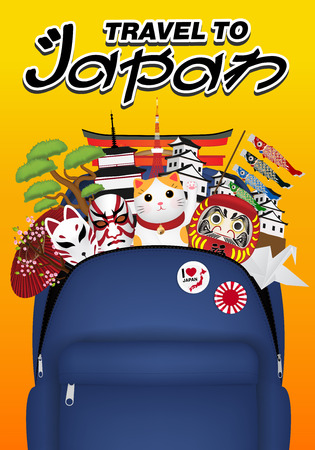 travel japan with bag full of japan object Vector illustration.