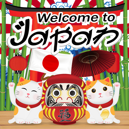 A welcome to japan with manikin cat and daruma doll Illustration