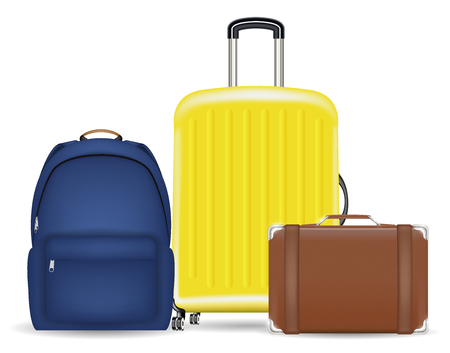 A set of a bag luggage suitcase and backpack Illustration