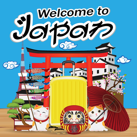 A welcome to japan with japan object and landmark