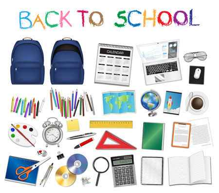 A set a real of back to school object vector Illustration