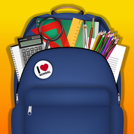 A student bag with study object inside vector