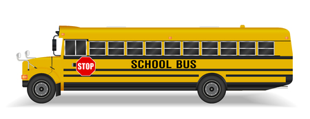 Real school bus on a white background