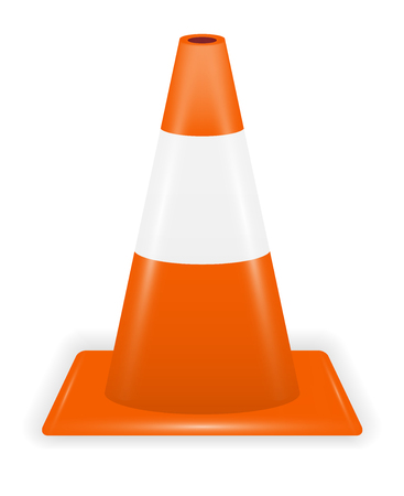 orange white traffic cone on white background Illustration