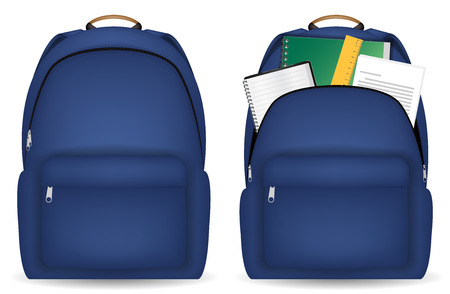 close and open student bag with study object Illustration