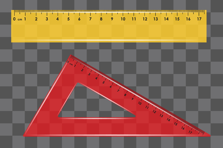 ruler set square on transparent background vector Illustration