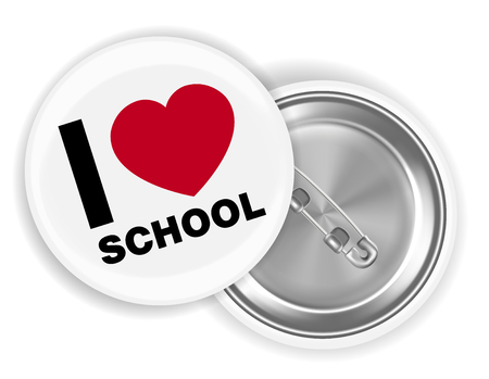 i love school steel pin brooch vector