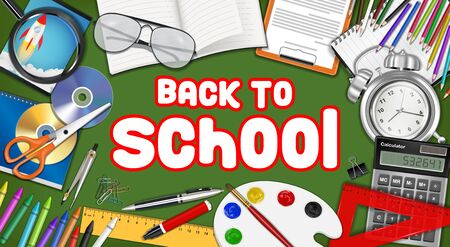 back to school with study object vector Illustration