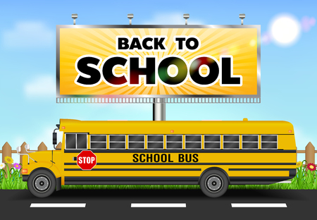 back to school billboard with school bus on road Illustration