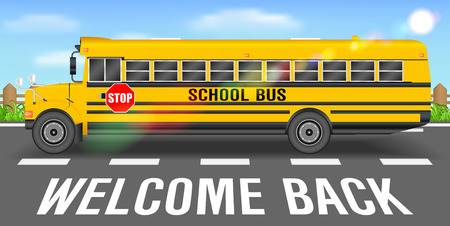 School bus on road going back to school design Illustration