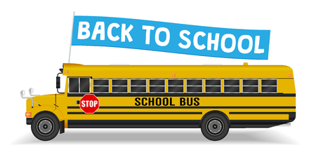 Back to school flag on school bus design