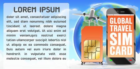 Smartphone and global travel sim card luggage bag