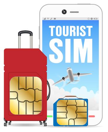 Smartphone with tourist sim card luggage bag