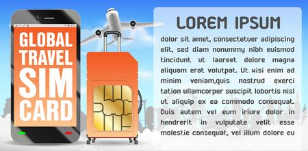 Smartphone and global travel sim card luggage bag Stock Vector - 100462953