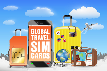Smartphone and global travel sim card luggage bag Stock Vector - 100462952