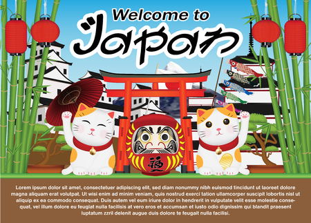 Welcome to Japan with maneki cat and daruma doll Illustration