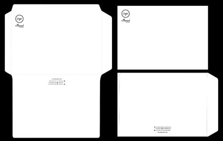 paper envelope dieline mockup template vector