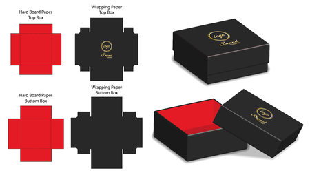 rigid box packaging die cut template 3D mockup Stock Illustratie