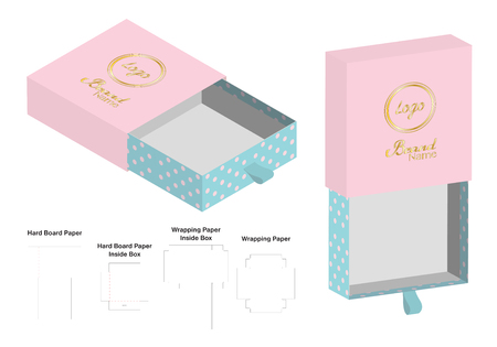 rigid box packaging die cut template 3D mockup Ilustrace