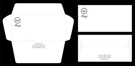 paper envelope dieline mockup template vector eps10