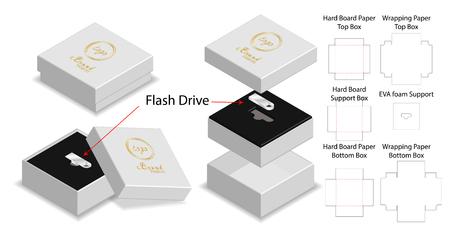 rigid box for flash drive packaging die-cut mockup