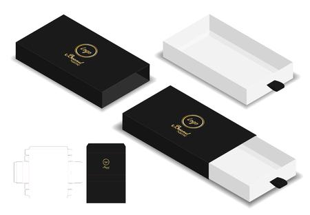 box packaging die cut template 3D mockup Vectores