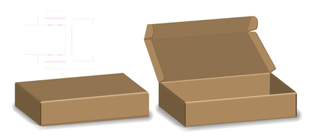 package box die cut with 3d mock up Ilustracja