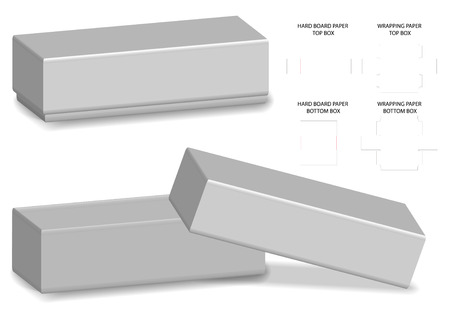 rigid box packaging die cut template 3D mockup Illustration