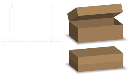 package box die cut with 3d mock up Stock Vector - 102354493