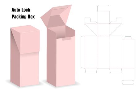 caja de paquete troquelada con maqueta 3d con bloqueo automático Ilustración de vector
