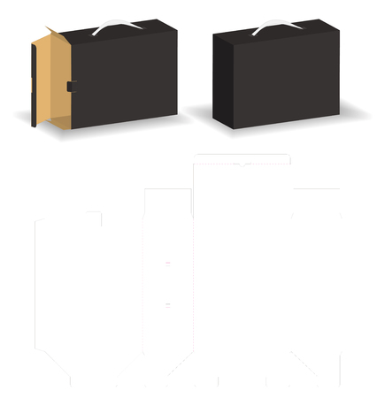 slide rigid box with  bag style mockup box dieline