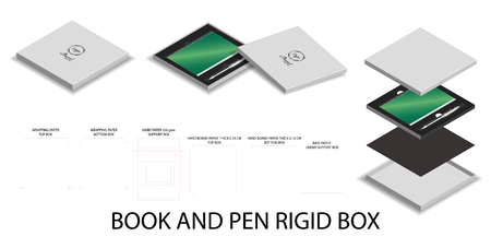 3d mockup box and dieline for book and pen