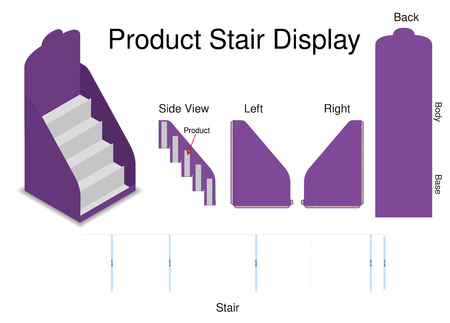 mock up product stair dispaly with dieline