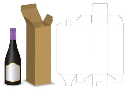 kartonnen doos dieline voor mockup flesverpakking