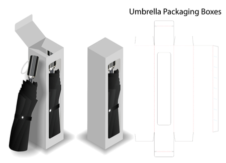 hard paper box for umbrella packaging with dieline Stock Vector - 104308850