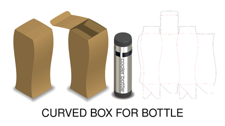 curved hard paper box for bottle packaging product 向量圖像
