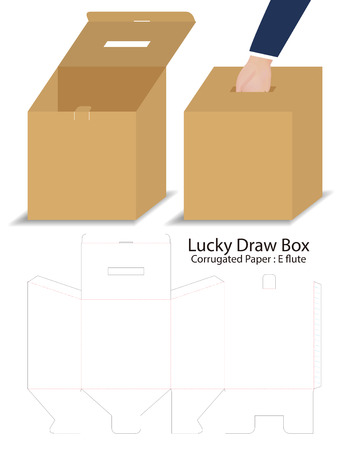 lucky draw box 3d mockup with dieline Ilustrace